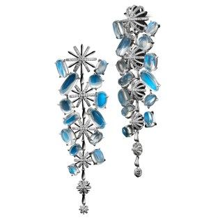 Diamond Snowflake and Moonstone Long Earrings