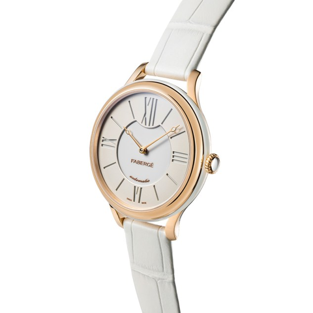 Fabergé Lady Fabergé 36mm 18ct Rose Gold Watch - White Dial