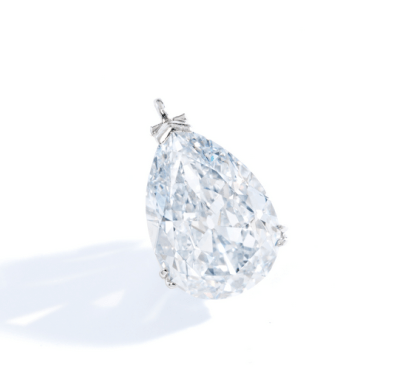 The pear-shaped Fancy Blue diamond weighing 9.15 carats, mounted in platinum.
