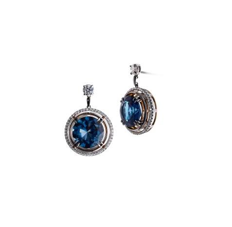 Brilliant-Cut London Blue Topaz and Diamond Earrings