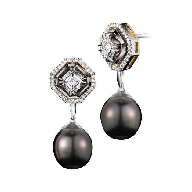 Vows by Alexandra Mor Asscher-Cut Diamond and Pearl Dangling Earrings
