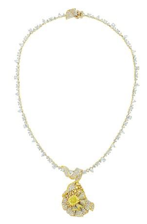 Fronce Diamant Jaune Necklace. 750/1000 yellow gold, diamonds and yellow diamonds.