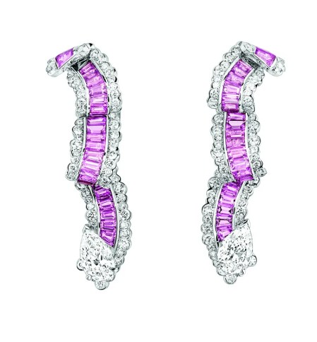 Gros Grain Saphir Rose Earrings. 750/1000 white gold, diamonds and pink sapphires.