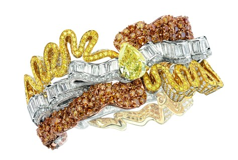 Smock Diamant Jaune Bracelet. 750/1000 yellow gold, white and pink gold, diamonds, yellow and orange diamonds.