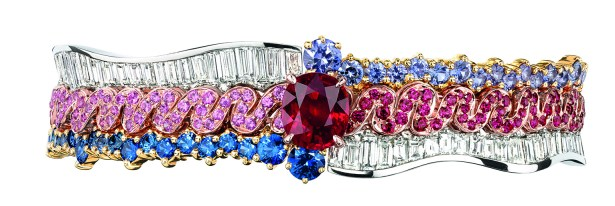 Tresse Rubis Bracelet. 950/1000 platinum, 750/1000 pink and yellow gold, diamonds, rubies, purple sapphires, sapphires and pink sapphires.