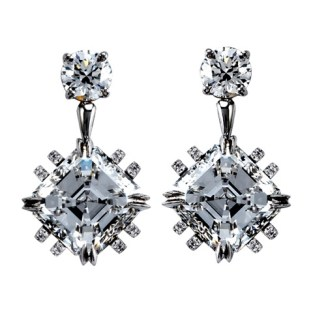 Vows by Alexandra Mor Asscher-Cut Diamond Earrings
