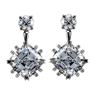 Vows by Alexandra Mor Asscher-Cut Diamond Earrings