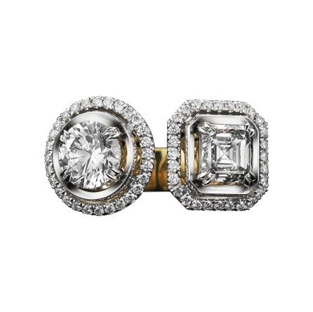 Alexandra Mor Two-Stone Asscher-Cut & Brilliant-Cut Diamond Ring