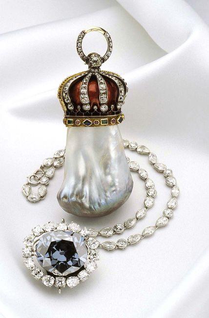 The Hope Pearl and the Hope Diamond.