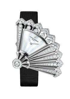 Heures Créatives - Heure Discrète diamonds and black satin strap, open.