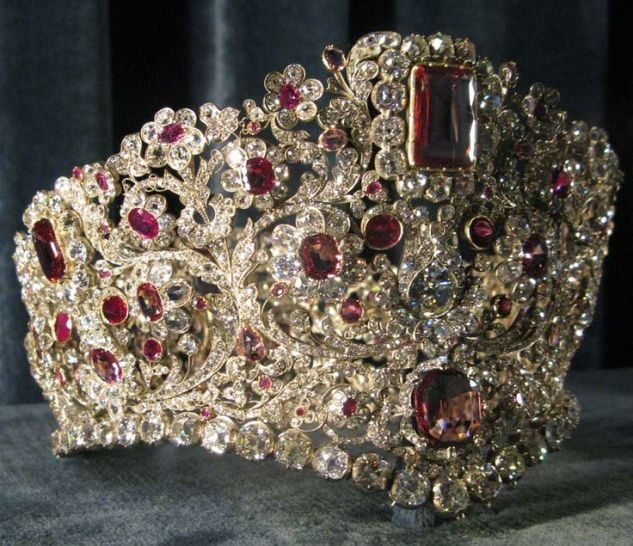 Queen Therese Ruby Tiara, c. 1830 - rubies, spinels, diamonds.