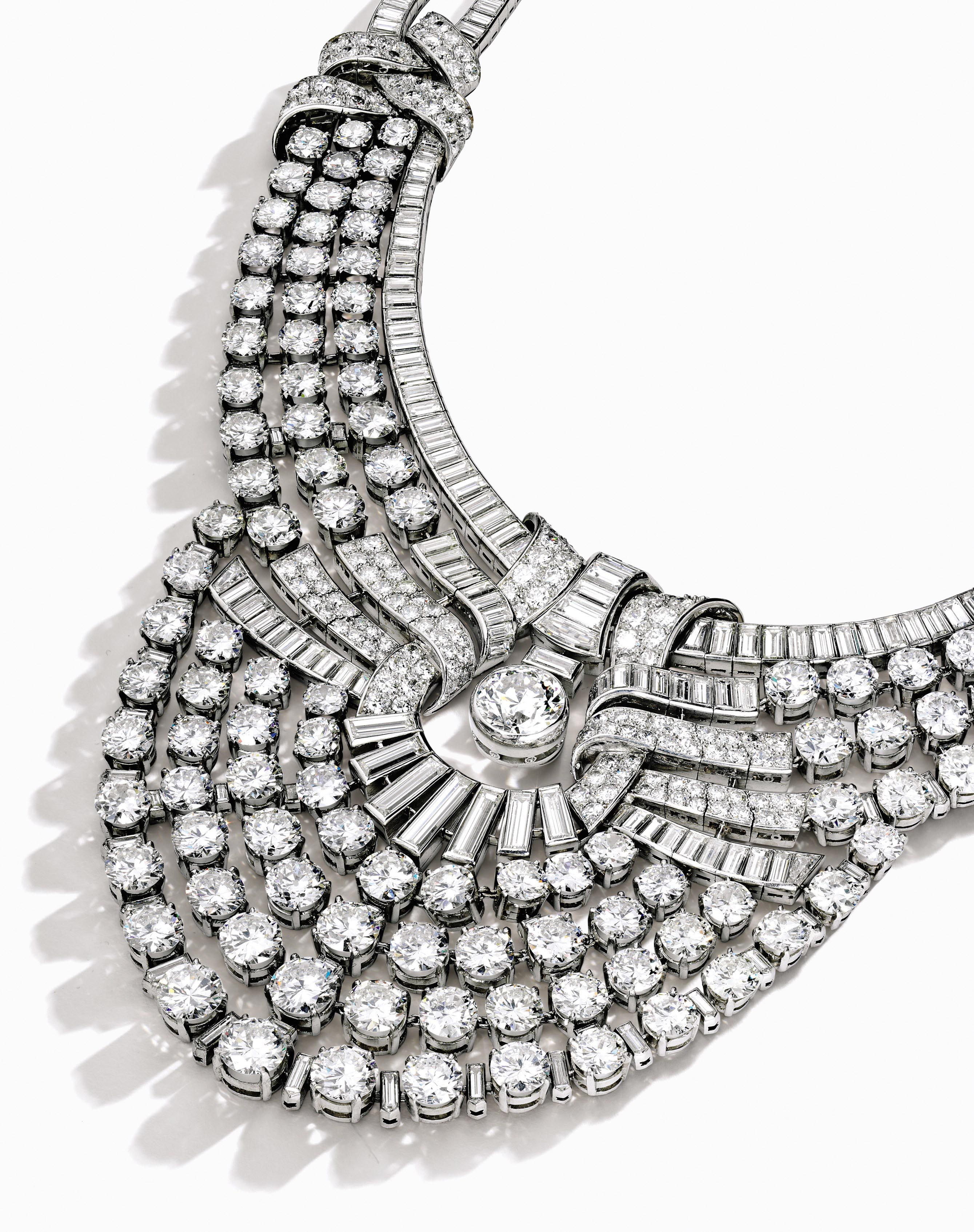 Magnificent and Historic Platinum and Diamond Necklace, Van Cleef & Arpels (estimate $3.6/4.6 million), created by the Parisian jeweler in 1939 for Queen Nazli of Egypt. Set with 217 carats of diamonds in a sunburst motif, the sensational bib-style necklace has been called 'a perfect piece of jewelry' by Vincent Meylan, author of Van Cleef & Arpels: Treasures and Legends.