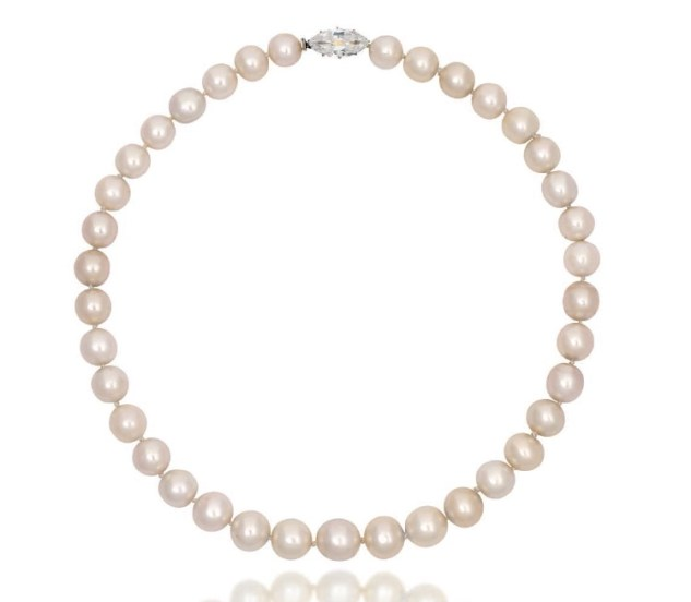 An exceptional natural pearl and diamond necklace.