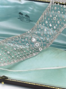 Diamond Choker by Chaumet 1910. From the collection of a French noble family, this wonderfully refined choker will be offered at auction to benefit a charitable organisation. Created by Chaumet in 1910, this exquisite piece of open work design set with diamonds is a stunning example of the designer's delicate motifs and workmanship. Estimate $80,000-120,000.