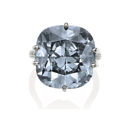 A rare bluish grey diamond ring, weighing circa 25.00 carats. Estimate US$1,173,719 - $1,479,907.