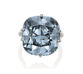 A rare bluish grey diamond ring, weighing circa 25.00 carats. Estimate US$1,173,719 - $1,479,907.