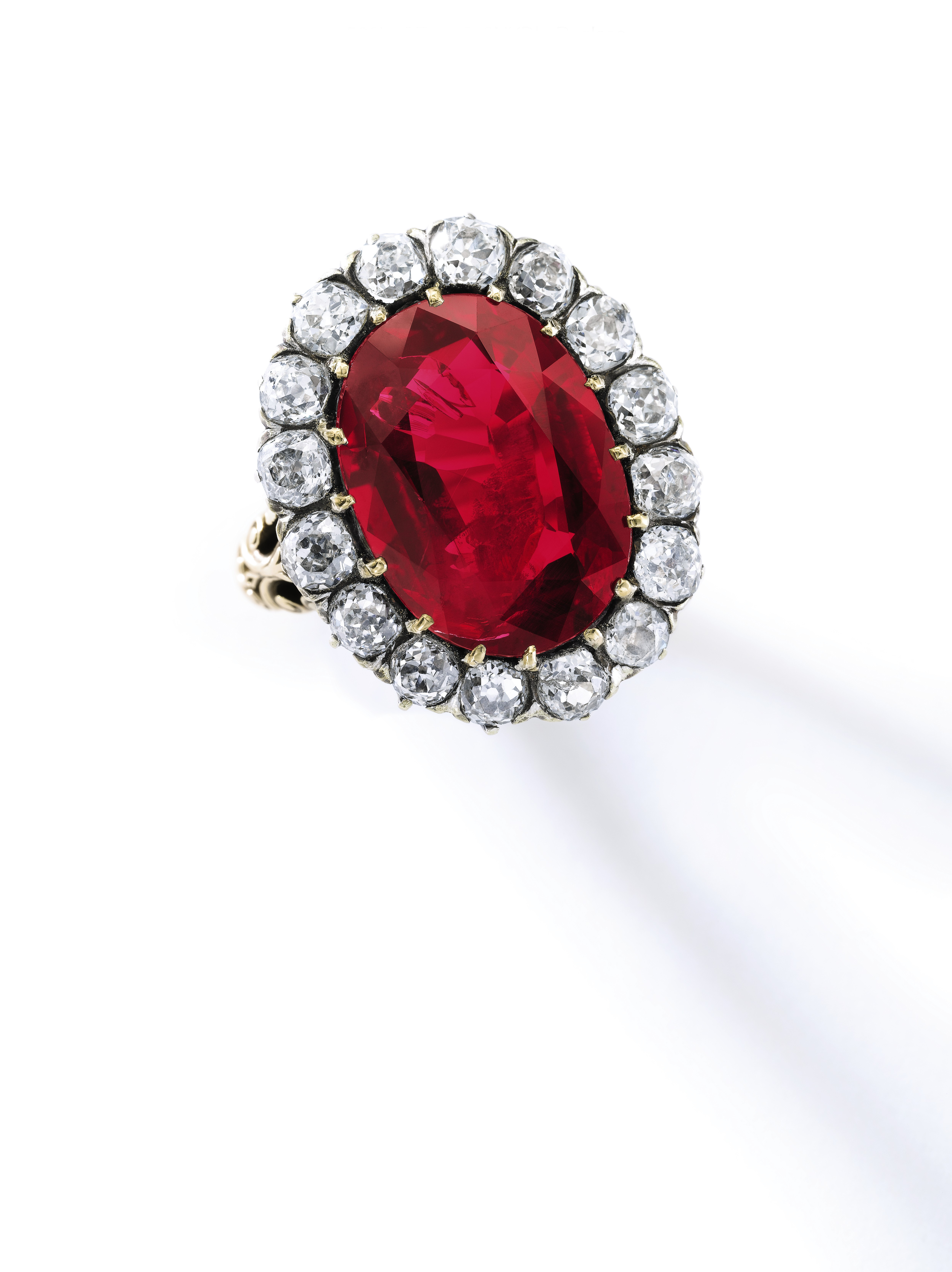 """The Queen Maria-José Ruby Ring. This exceptional ruby and diamond ring was formerly part of the personal collection of the last Queen of Italy, Maria-José (1906-2001). The superb jewel has impeccable provenance: it was a gift from Italian bibliophile Tammaro de Marinis on the occasion of Maria-José's wedding to Crown Prince Umberto in 1930. The captivating ring is set with an exquisite Burmese ruby weighing 8.48 carats, with no evidence of heat treatment, boasting the most sought-after hue for rubies: """"pigeon's blood"""". Estimate: $6,000,000-9,000,000."""