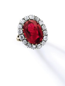 "The Queen Maria-José Ruby Ring. This exceptional ruby and diamond ring was formerly part of the personal collection of the last Queen of Italy, Maria-José (1906-2001). The superb jewel has impeccable provenance: it was a gift from Italian bibliophile Tammaro de Marinis on the occasion of Maria-José's wedding to Crown Prince Umberto in 1930. The captivating ring is set with an exquisite Burmese ruby weighing 8.48 carats, with no evidence of heat treatment, boasting the most sought-after hue for rubies: ""pigeon's blood"". Estimate: $6,000,000-9,000,000."