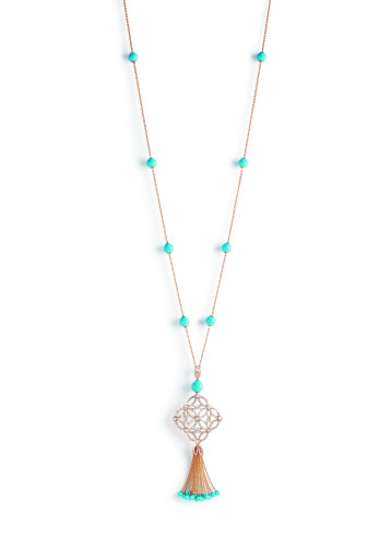 """Extremely Piaget """"Décor Dentelle"""" Necklace. 18k pink gold, 25 grains of turquoise (circa 48,50 carats) and 356 brilliant-cut diamonds (circa 5,69 carats)"""