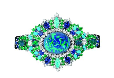 EXQUISE OPAL HIGH JEWELLERY TIMEPIECE 750/1000 white gold, 950/1000 platinum, diamonds, black opals, emeralds, turquoises, sapphires and Paraiba-type tourmalines Quartz movement