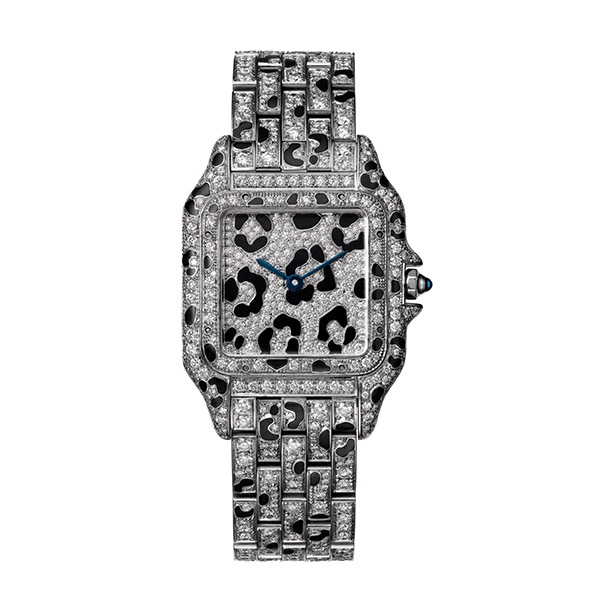 Panthère de Cartier watch, medium model, white gold and brilliant-cut diamonds, black enamel spots