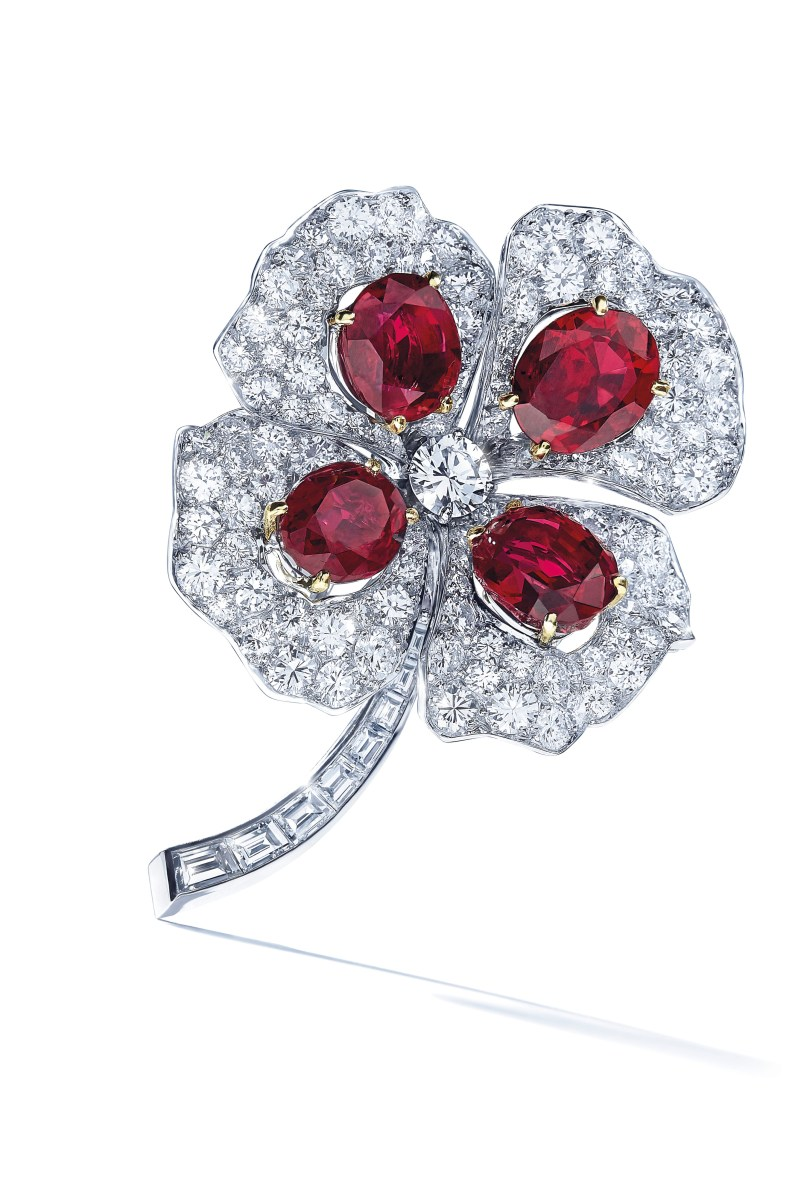 A Burmese Ruby and Diamond Brooch, by Boucheron, 3.75, 3.49, 3.20 and 3.04 carats,