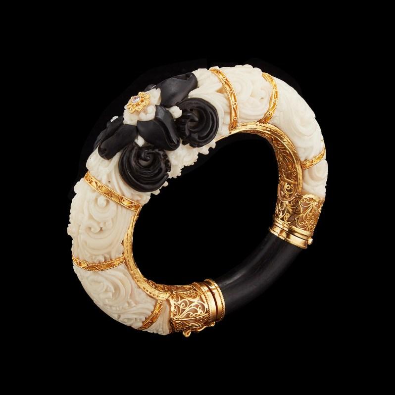 Alexandra Mor Carved Tagua Seed cuff