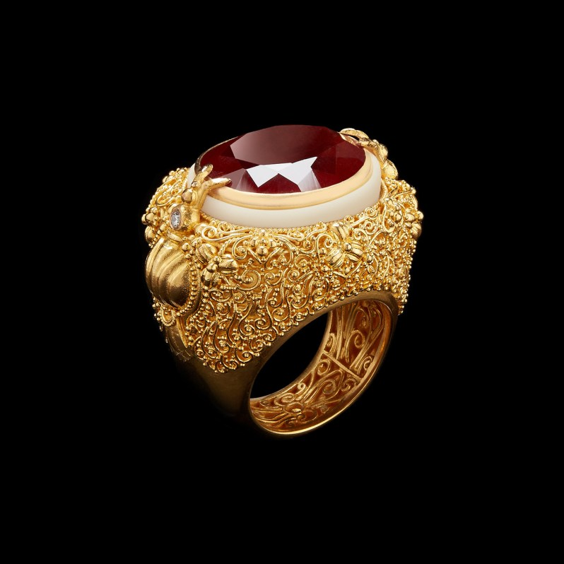 Alexandra Mor Oval cut Garnet, Tagua and Diamonds Ring