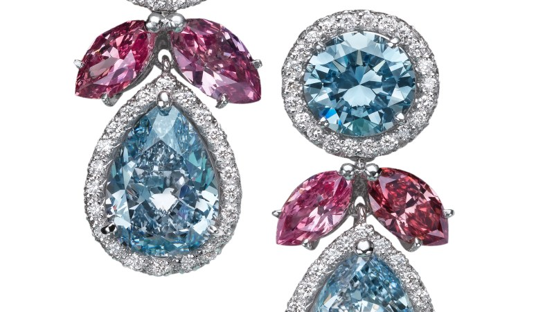 Natural Fancy Blue and Pink diamond earrings Moussaieff