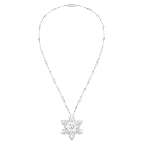 Boucheron - Hiver Impérial High Jewellery Collection Flocon long necklace Pendant set with a 0.75 ct E VVS2 round diamond and mother-of-pearl, paved with diamonds, on white gold.