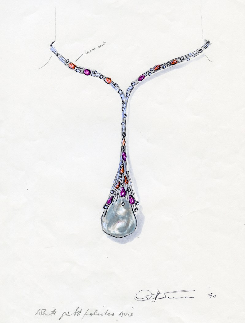Gold, Baroque cultured pearl, multi-coloured sapphire and diamond necklace design drawing by Andrew Grima
