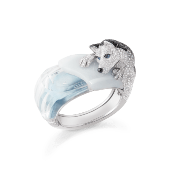Boucheron Hiver Impérial High Jewellery Collection Laïka le Husky Timepiece In white gold, diamonds, sapphires, spinels, rock crystal and agate.