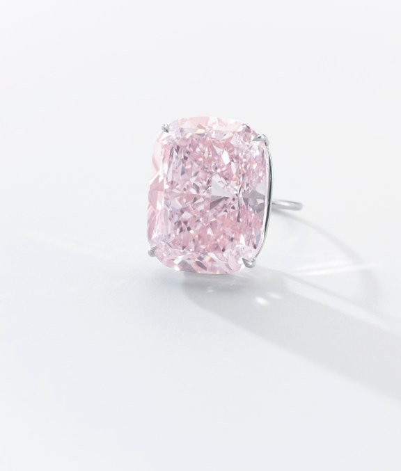 'The Raj Pink' The World's Largest known Fancy Intense Pink Diamond Magnificent fancy intense pink diamond ring Set with a cushion modified brilliant-cut fancy intense pink diamond weighing 37.30 carats, size 52. Accompanied by GIA report no. 5171432436, stating that the diamond is Fancy Intense Pink, Natural Colour, VS1 Clarity, Excellent Polish; together with a letter from the GIA stating that the diamond is the largest Fancy Intense Pink, Natural Colour, diamond they have ever graded. The GIA report additionally accompanied by a separate monograph expressing the rarity and the characteristics of the stone.