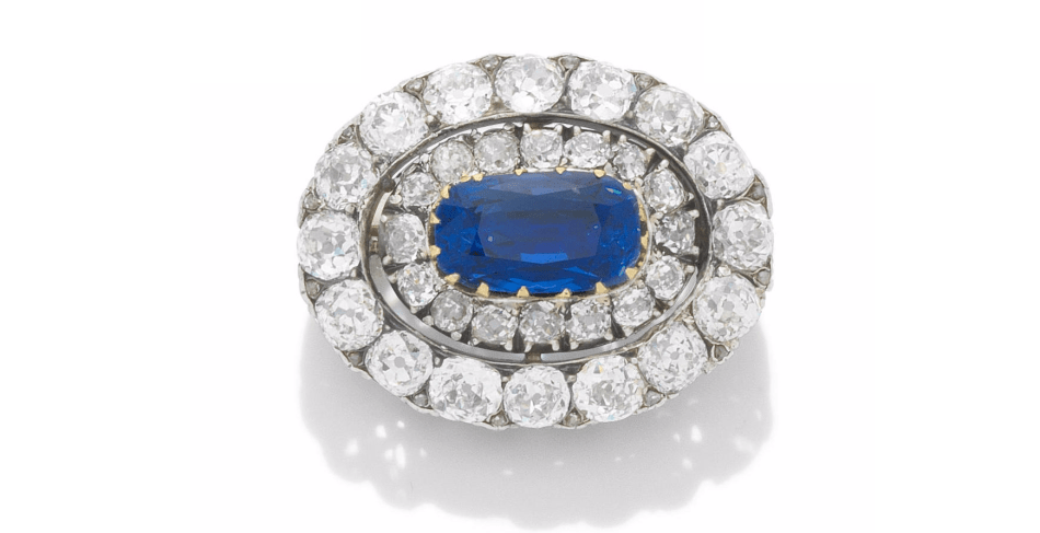 A LATE 19TH CENTURY SAPPHIRE AND DIAMOND BROOCH, circa 1890
