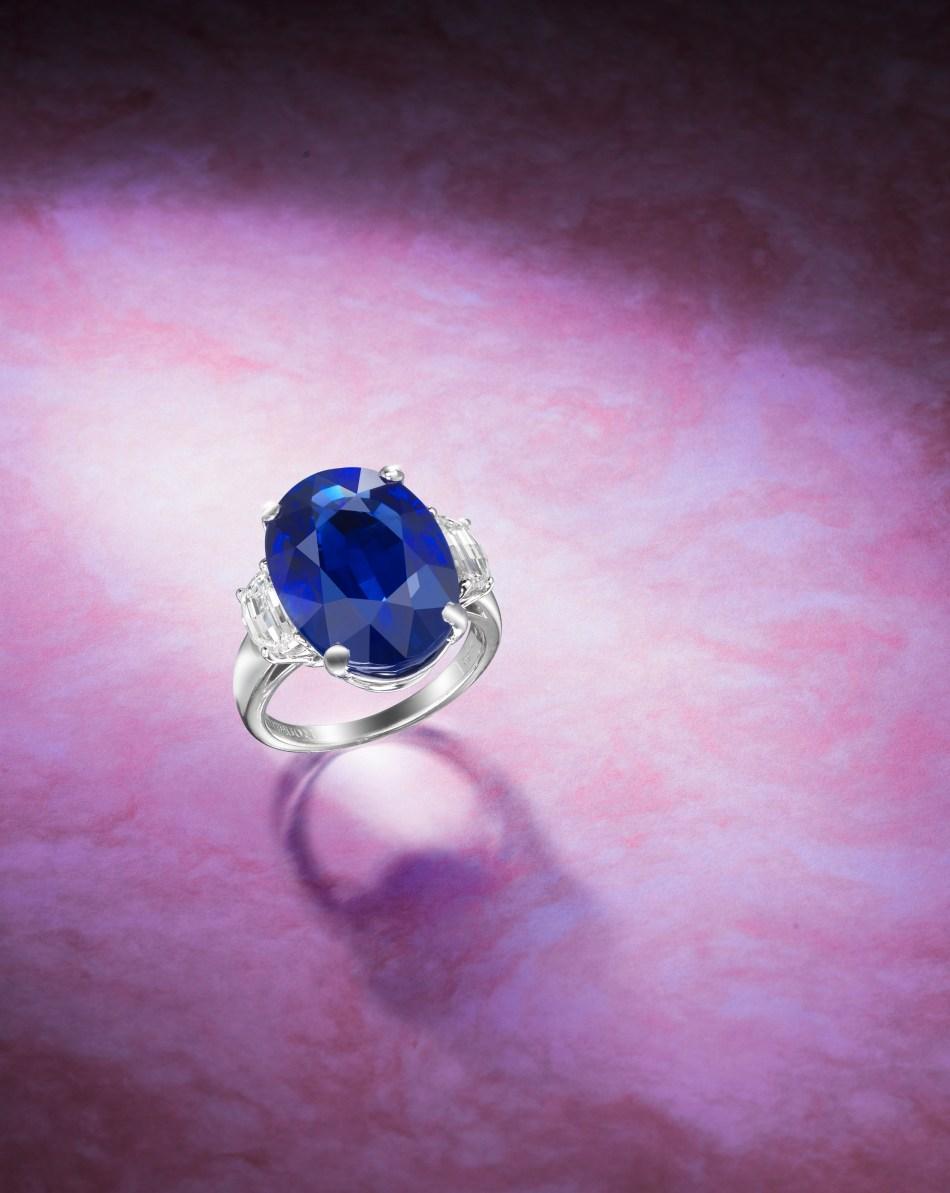A 17.33 carat Burmese Sapphire and Diamond ring