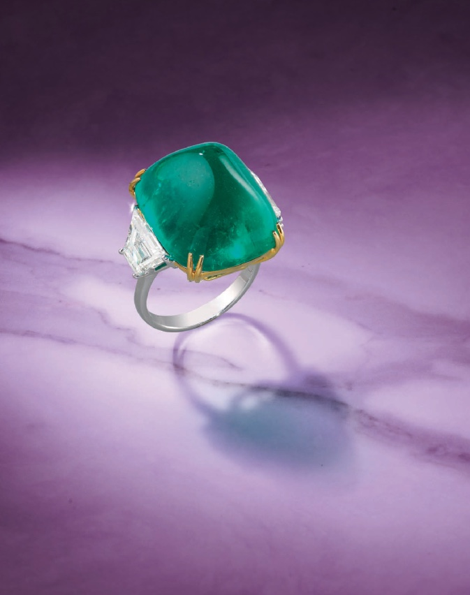 Bonhams A 27.03 Colombian Emerald and Diamond Ring