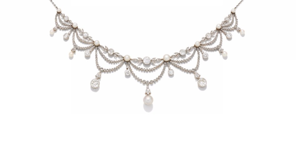 A BELLE ÉPOQUE NATURAL PEARL AND DIAMOND FRINGE NECKLACE, circa 1900