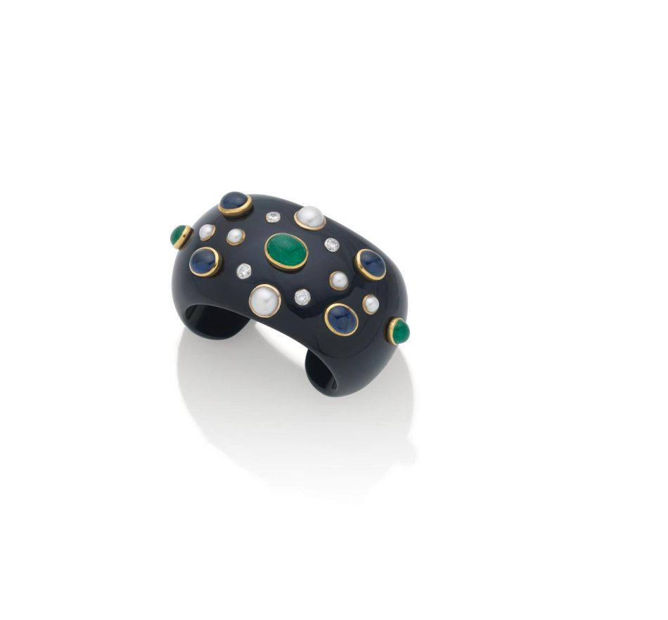 Black Jade and Gem-Set Cuff and Earclips by Verdura. Lot 117 (a)