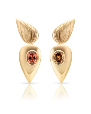 Cora Sheibani - Owl Earrings, Yellow Gold & Zircons