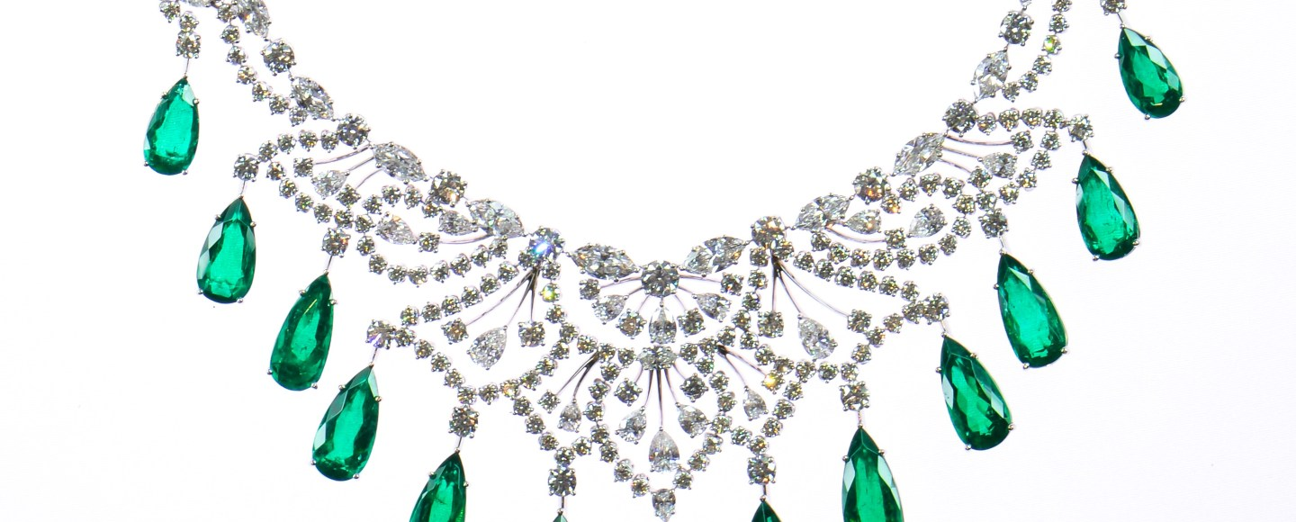 MICHAEL GAD. Emeralds and diamond necklace