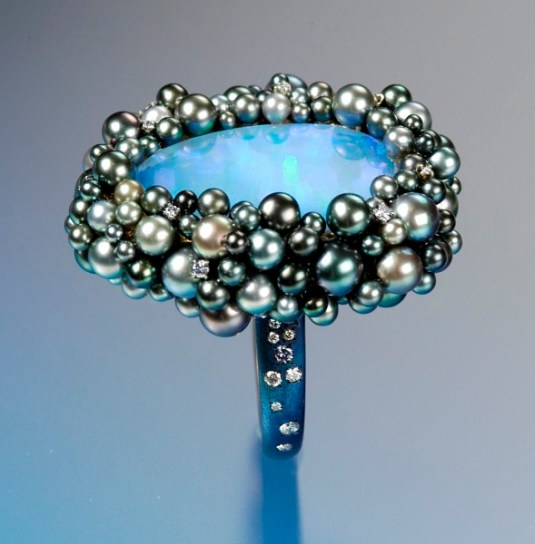 SEAN GILSON Opal & natural black pearls with steel blue diamonds in blued steel band.