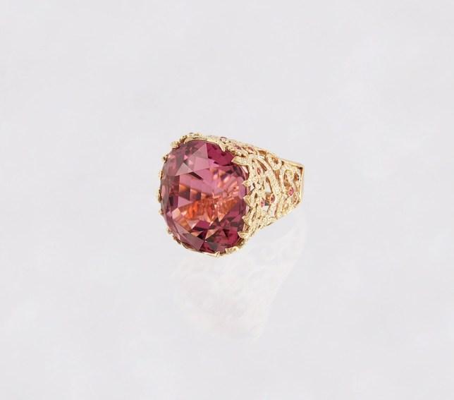 Alexander Tenzo - Pink Tourmaline Ring - Pink Spinels and Diamonds.