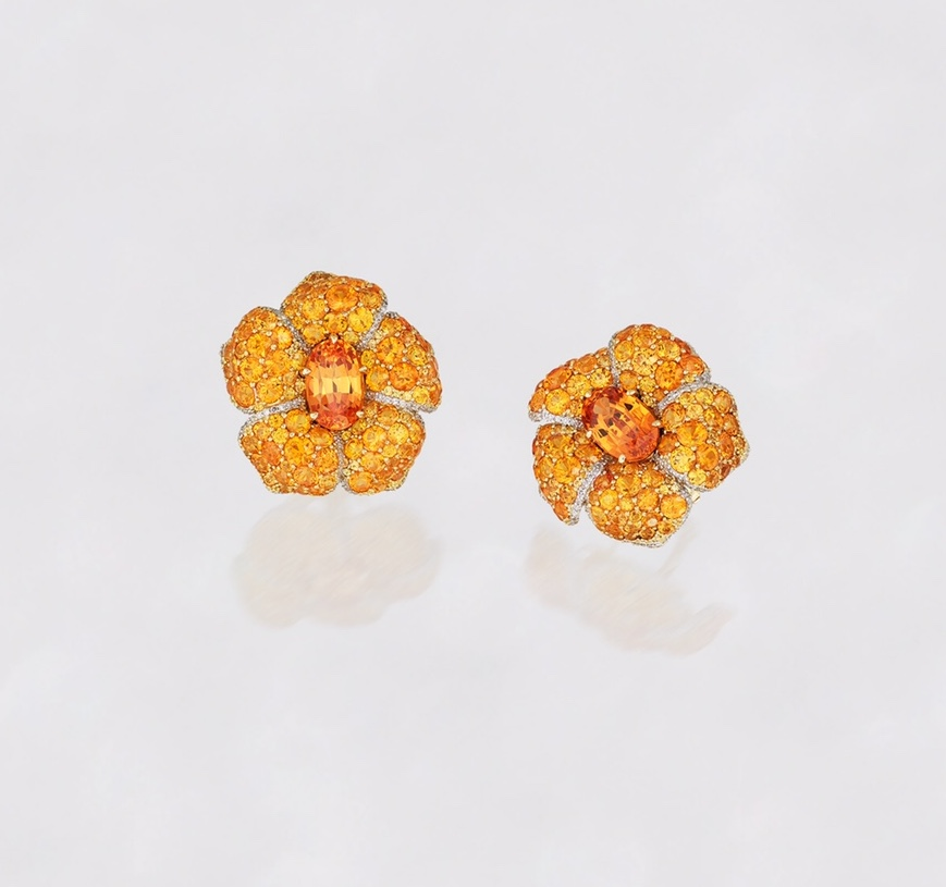 Alexander Tenzo - Spessartine Earrings - Diamond & Yellow Gold