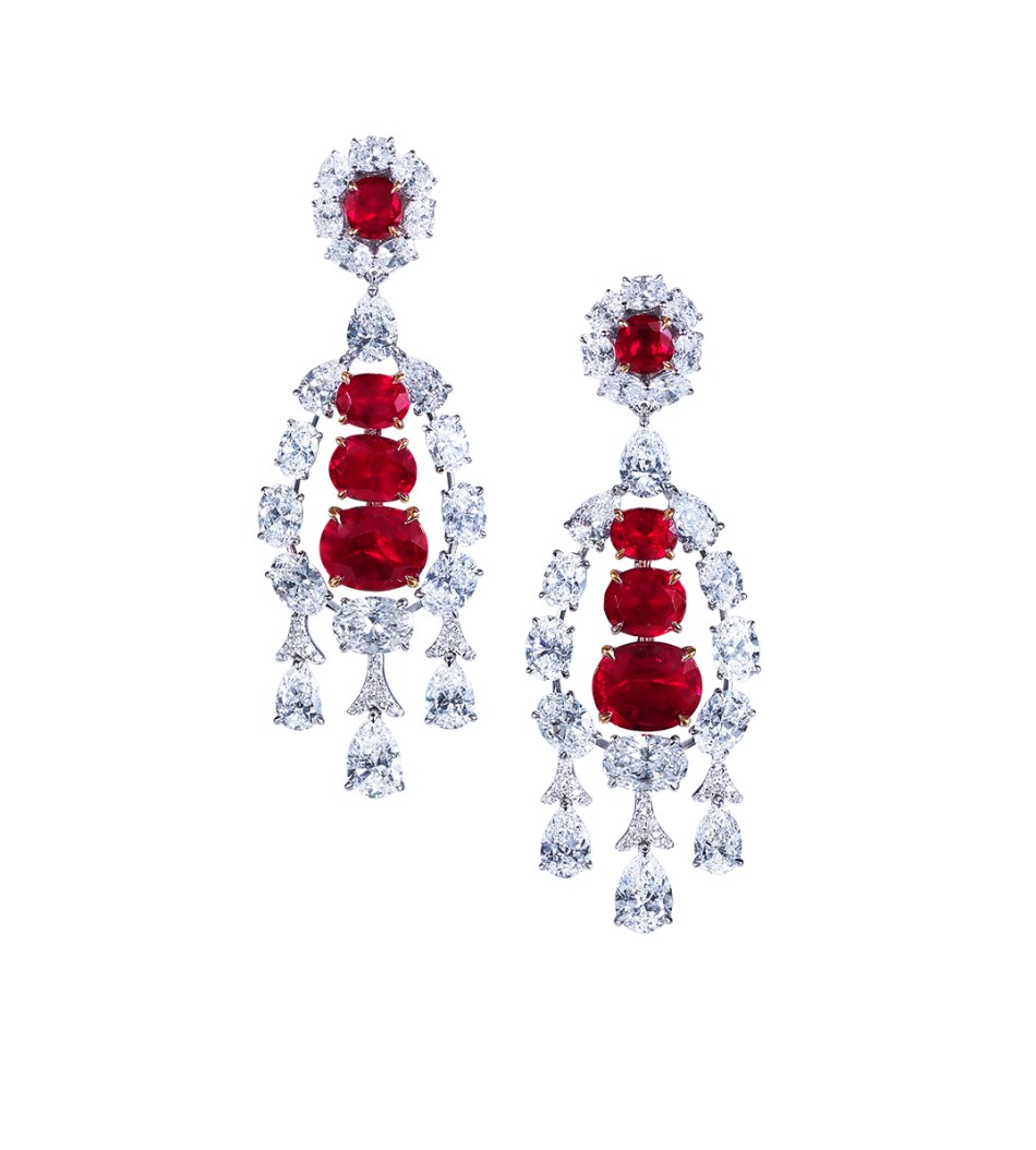 Moussaieff - White gold Burma ruby (12.61ct) and diamond (14.29ct) chandelier earrings