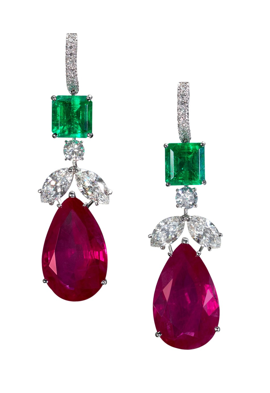 Moussaieff - Colombian emerald (6.88cts), Burma ruby (40.23cts) and diamond (5.25cts) earrings set in platinum