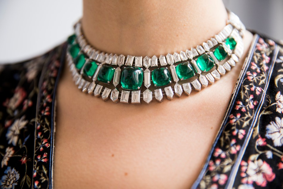 Emerald and diamond necklace, circa 1935