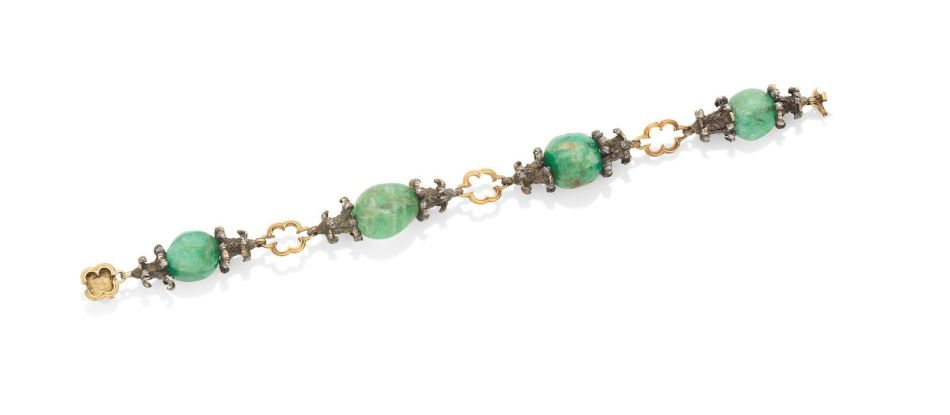 A gold, silver and emerald bracelet, attributed to Mario Buccellati