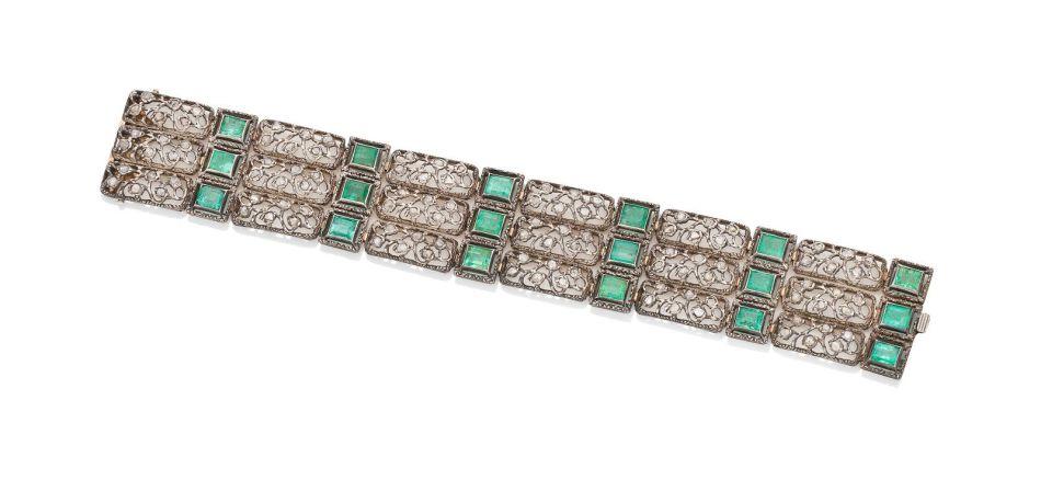 マリオ・ブチェラティによるエメラルドとダイヤモンドのブレスレット
