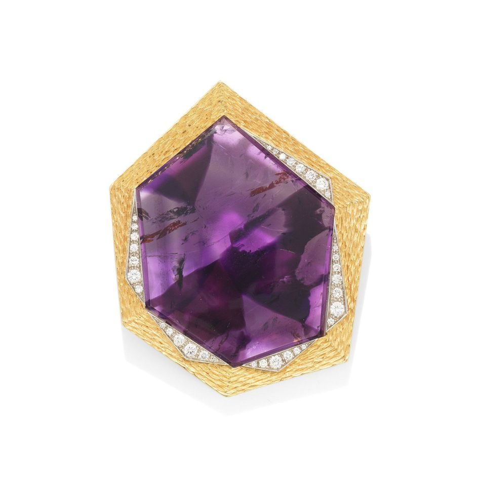 An amethyst and diamond pendant, By Grima