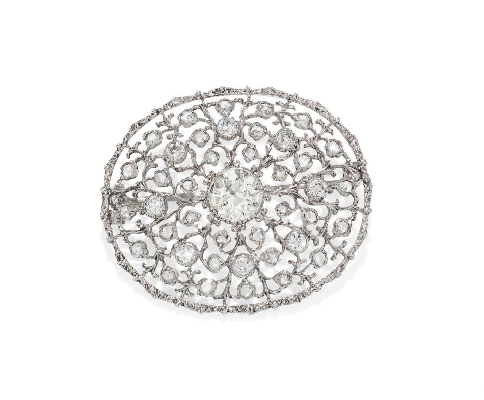 A diamond plaque brooch pendant, by Buccellati